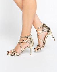 Босоножки на каблуке эксклюзивно для Head Over Heels By Dune - Золотой