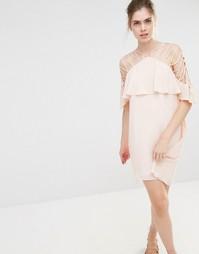 Платье мини с бретельками и оборкой Endless Rose - Blush