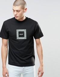 Футболка с принтом пейсли и логотипом HUF - Черный