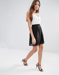 Короткая расклешенная юбка Lavand - Черный