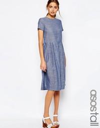 Платье миди из шамбре с принтом в горошек ASOS TALL - Синий