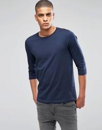 Темно-синяя футболка с рукавами 3/4 ASOS - Темно-синий