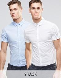 Набор из 2nbsp;облегающих рубашек белого и синего цвета с короткими ру Asos
