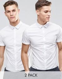 Набор из 2 облегающих белых рубашек с короткими рукавами ASOS, СКИДКА