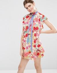 Цельнокройное платье мини с оборками, завязкой и принтом ASOS - Мульти