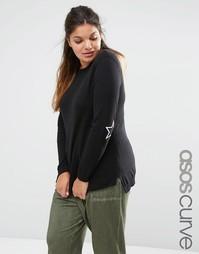 Джемпер с накладками на локтях ASOS CURVE - Черный