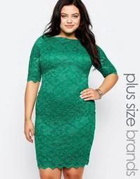 Кружевное платье Goddiva Plus - Нефрит