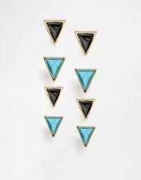 Комплект треугольных серег с бирюзой House Of Harlow