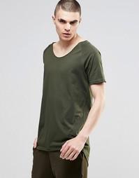 Длинная футболка цвета хаки с рукавами реглан и необработанными краями Asos