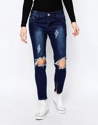 Облегающие джинсы с дырками на коленях Glamorous - Темно-синий деним