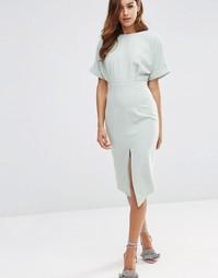 Платье с разрезом спереди ASOS - Шалфей