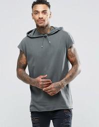 Свободная футболка без рукавов с капюшоном ASOS - Хаки