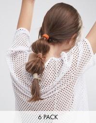Набор из 6 повседневных резинок для волос ASOS - Коричневый
