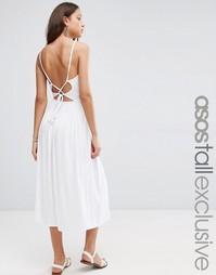 Платье миди со сборками на талии и бретельками сзади ASOS TALL - Белый