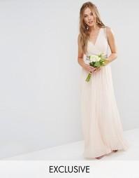 Декорированное платье макси со складками TFNC WEDDING - Телесный