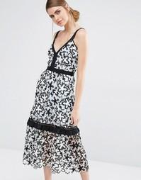 Кружевное платье миди с цветочным принтом Self Portrait