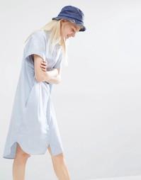Платье-рубашка в стиле oversize без рукавов Monki - Голубой шамбре