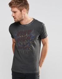 Выбеленная черная футболка с логотипом Replay Rise High - Черный