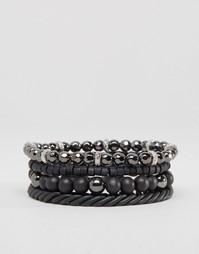 Набор черных браслетов с бусинами Icon Brand - Черный