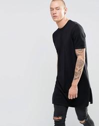 Длинная трикотажная футболка с разрезами по бокам ASOS - Черный