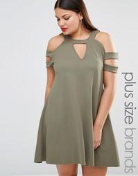 Свободное платье с вырезами на плечах Pink Clove - Хаки