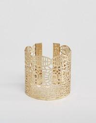 Широкий браслет-манжета с вырезным узором Ashiana - Латунь с позолотой