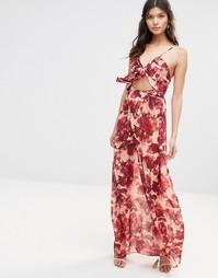 Платье макси с принтом диких роз For Love and Lemons - Rosey floral