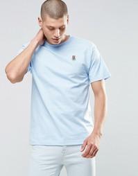 Футболка с маленьким логотипом-розой HUF - Синий