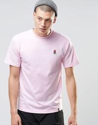 Футболка с маленьким логотипом-розой HUF - Розовый