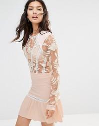 Платье мини с вышивкой For Love and Lemons Emelia - Пыльно-розовый