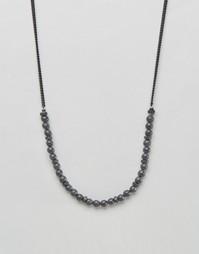 Черное ожерелье-цепочка с бусинами Icon Brand - Черный