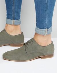 Серые замшевые туфли-дерби с контрастной подошвой ASOS - Серый