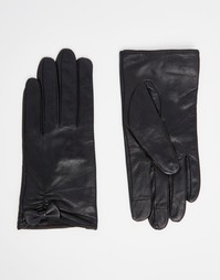 Кожаные перчатки для сенсорных гаджетов с декоративным бантиком ASOS