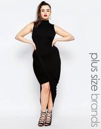 Платье с высокой горловиной и запахом спереди Missguided Plus - Черный