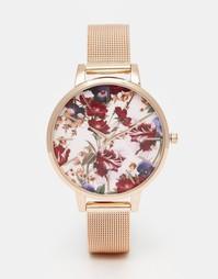 Часы с цветочным принтом на циферблате и сетчатым ремешком ASOS