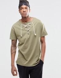 Удлиненная футболка со шнуровкой у горловины Granted - Хаки