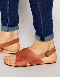 Кожаные сандалии с перекрестными ремешками ASOS - Рыжий