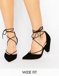 Туфли на каблуке для широкой стопы со шнуровкой ASOS SINEAD - Черный
