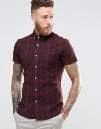 Бордовая рубашка скинни в клетку с короткими рукавами ASOS - Burgundy