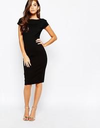 Платье-футляр с присборенными короткими рукавами Closet - Черный