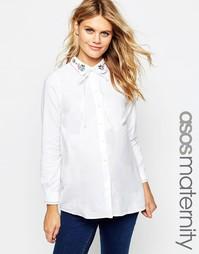 Повседневная рубашка для беременных с вышивкой ASOS Maternity - Мульти