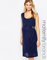 Присобранное спереди платье с отделкой Mamalicious - Темно-синий Mama.Licious