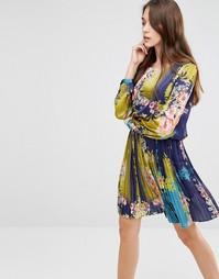Короткое приталенное платье с цветочным принтом Lavand - Синий