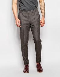 Коричневые саржевые строгие брюки слим со шнурком на поясе ASOS