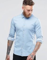 Джинсовая рубашка суперзауженного кроя с длинными рукавами и выбеленны Asos