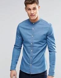 Зауженная джинсовая рубашка с воротником на пуговицах и длинными рукав Asos