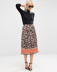 Плиссированная юбка миди с животным принтом ASOS - Мульти