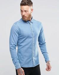 Джинсовая рубашка суперзауженного кроя с длинными рукавами ASOS