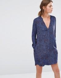 Цельнокройное платье с принтом листьев See U Soon - Синий