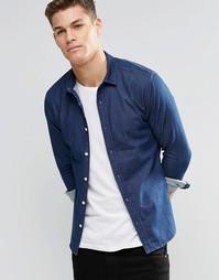 Джинсовая зауженная рубашка с длинными рукавами ASOS